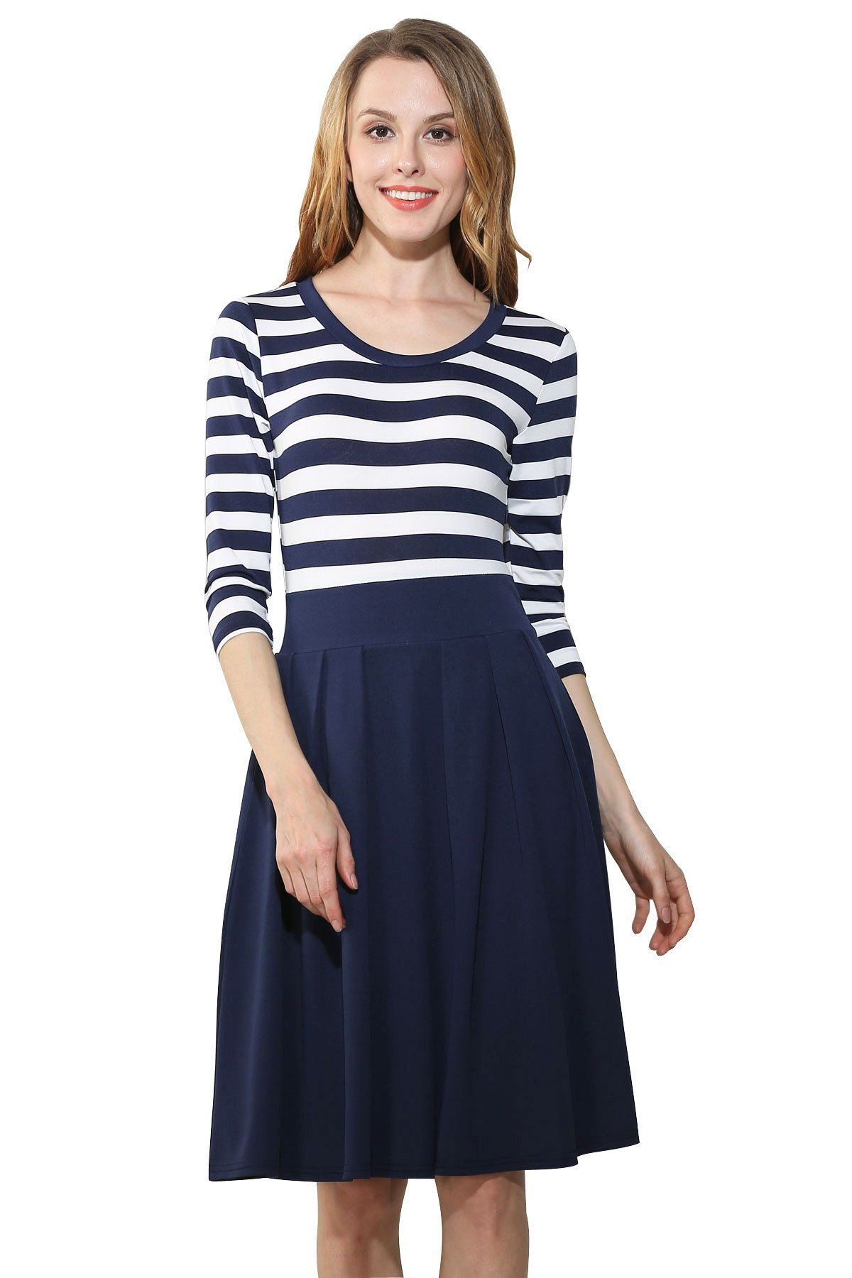 Striped lovely scoop sleeves kneelength dress
