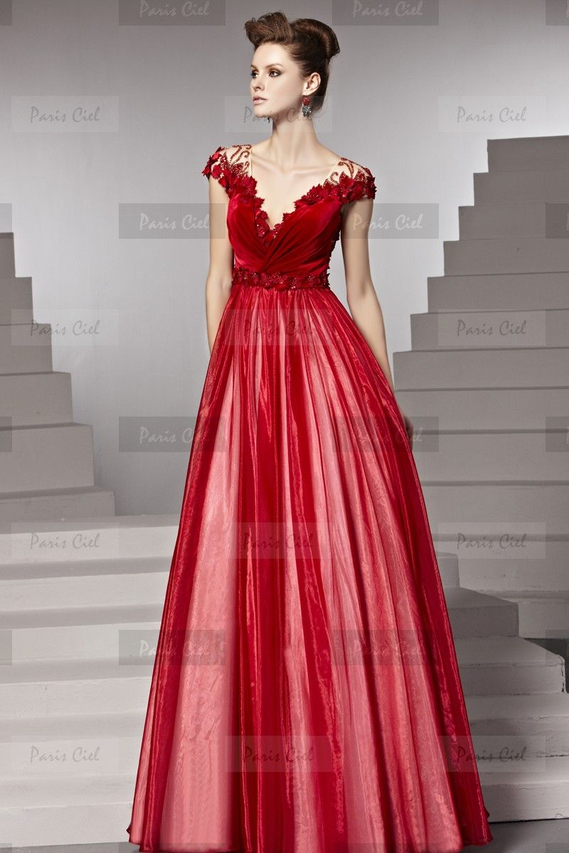 Fine V-neck Long Ruby Evening Dress | Paris Ciel | Fashionable Girl ...