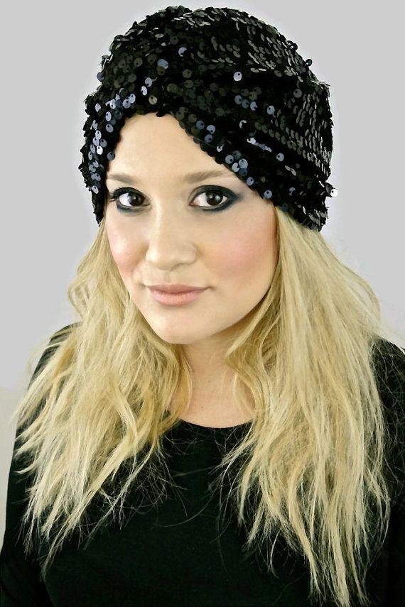 14dee6f9 Black Sequin Turban Fashion Turban Turban Hat by MandyTangerine $48.00  #sequin #turban