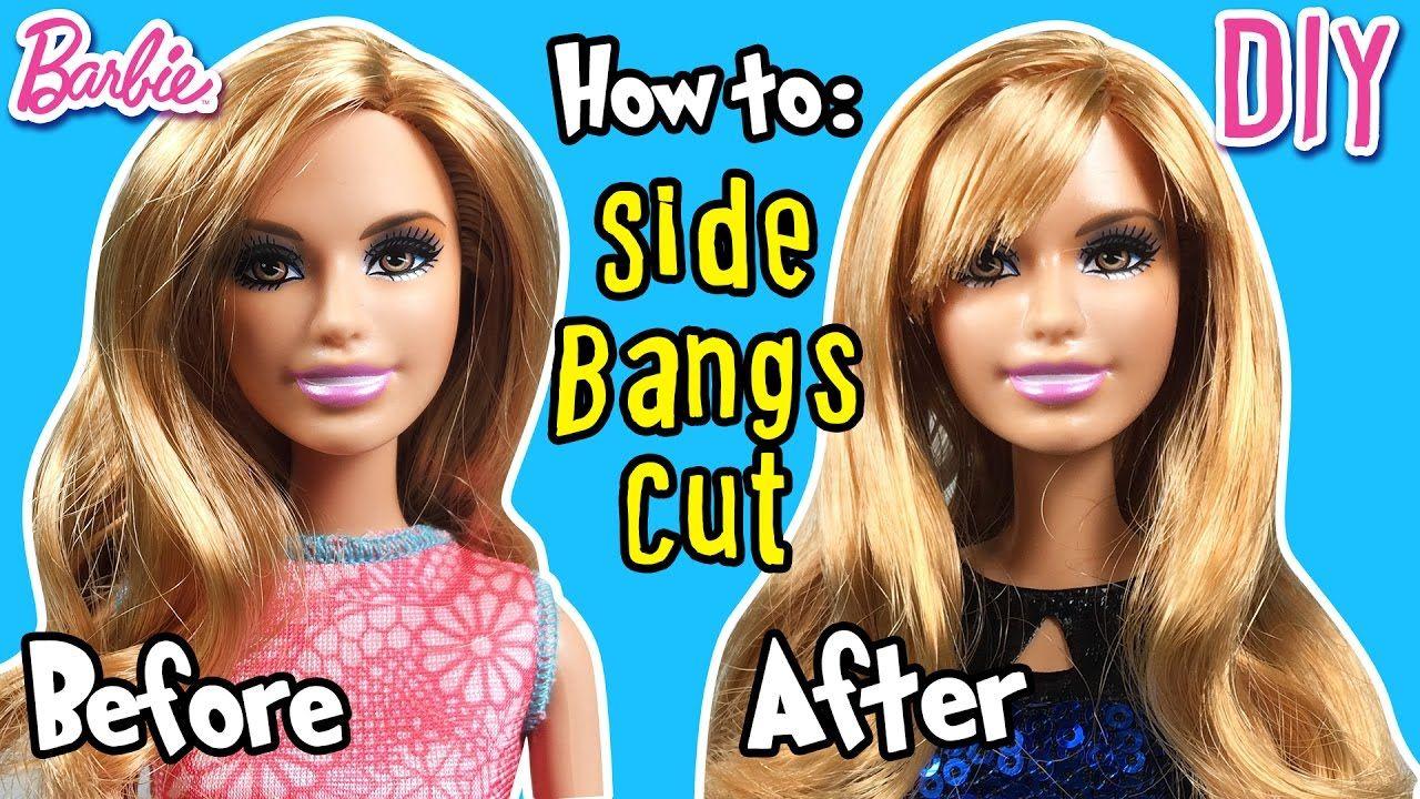 How to Cut Side Bangs using Barbie Doll Hair - DIY Barbie Hairstyles ...