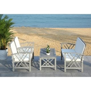 Shop for Safavieh Outdoor Living Fontana Grey Wash/Beige 4 ... on Safavieh Fontana Patio Set id=68860