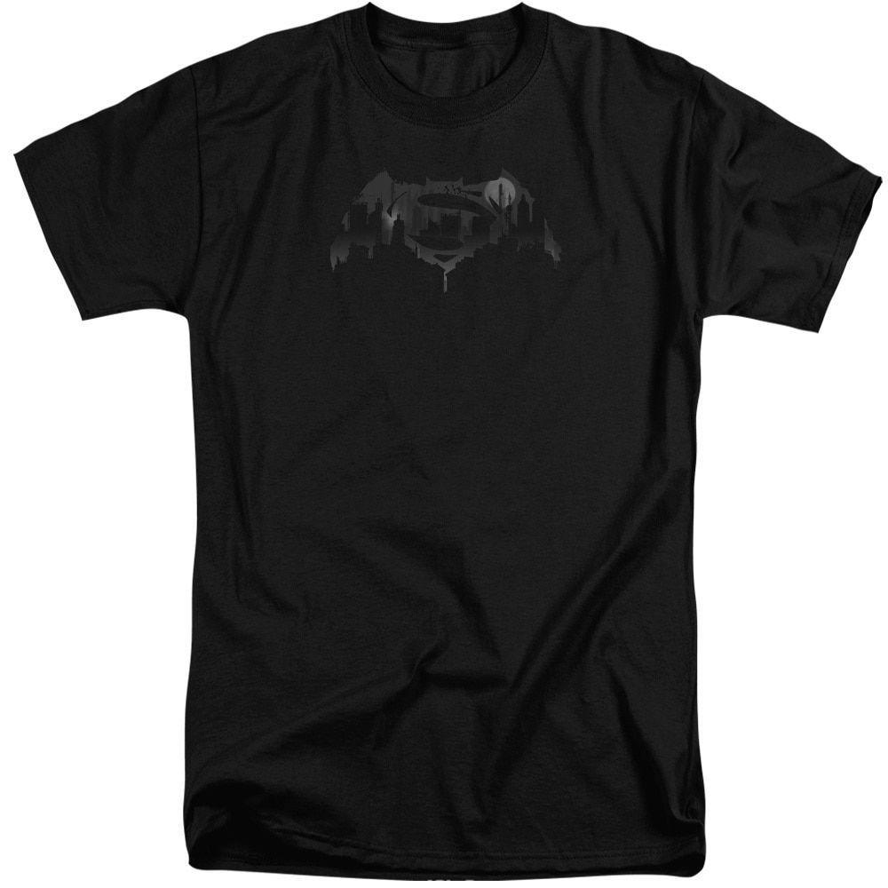 Batman V Superman/Cityscape Logo Short Sleeve Adult T-Shirt Tall