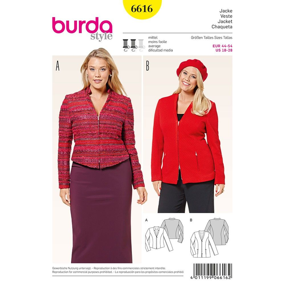 Misses Plus Size Jacket Burda Sewing Pattern 6616. Plus Size 18-28 ...