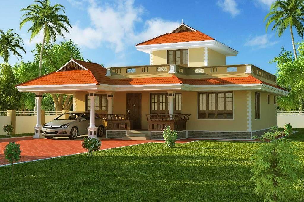 Exterior House Design 1524 Sqft Kerala Style Home 3d