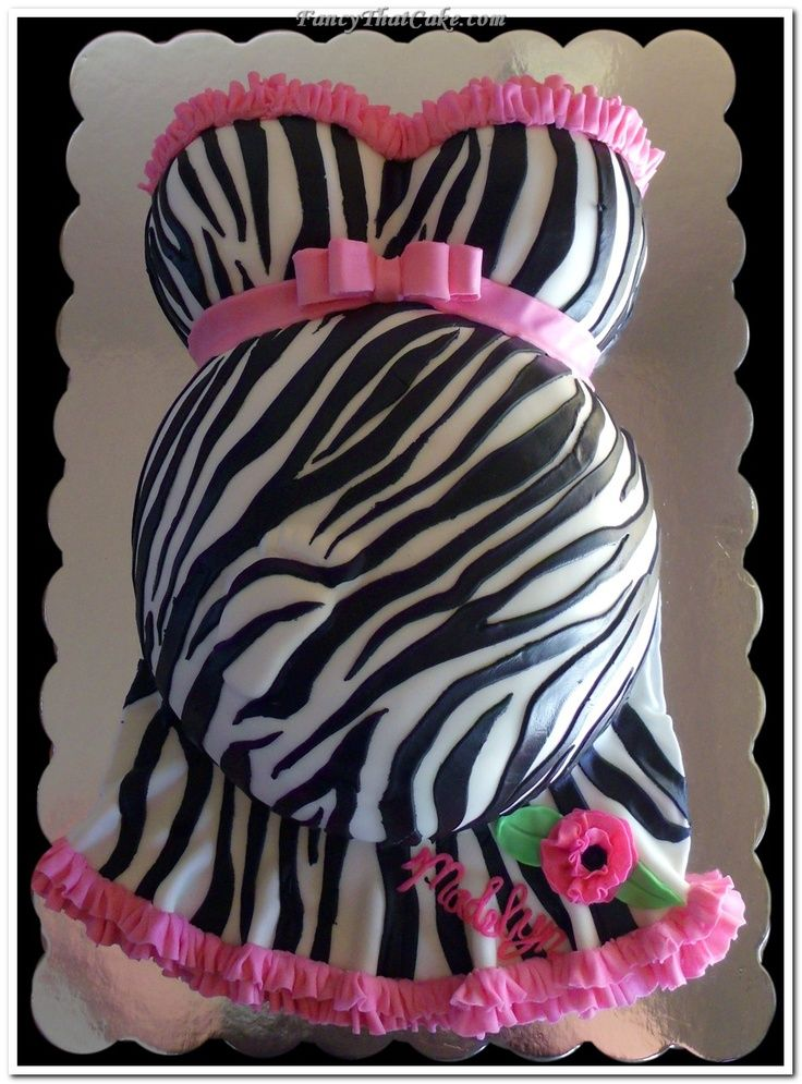 Cute Idea Not Digging The Zebra Print    Pregnant Belly Baby Shower Cake    Girl