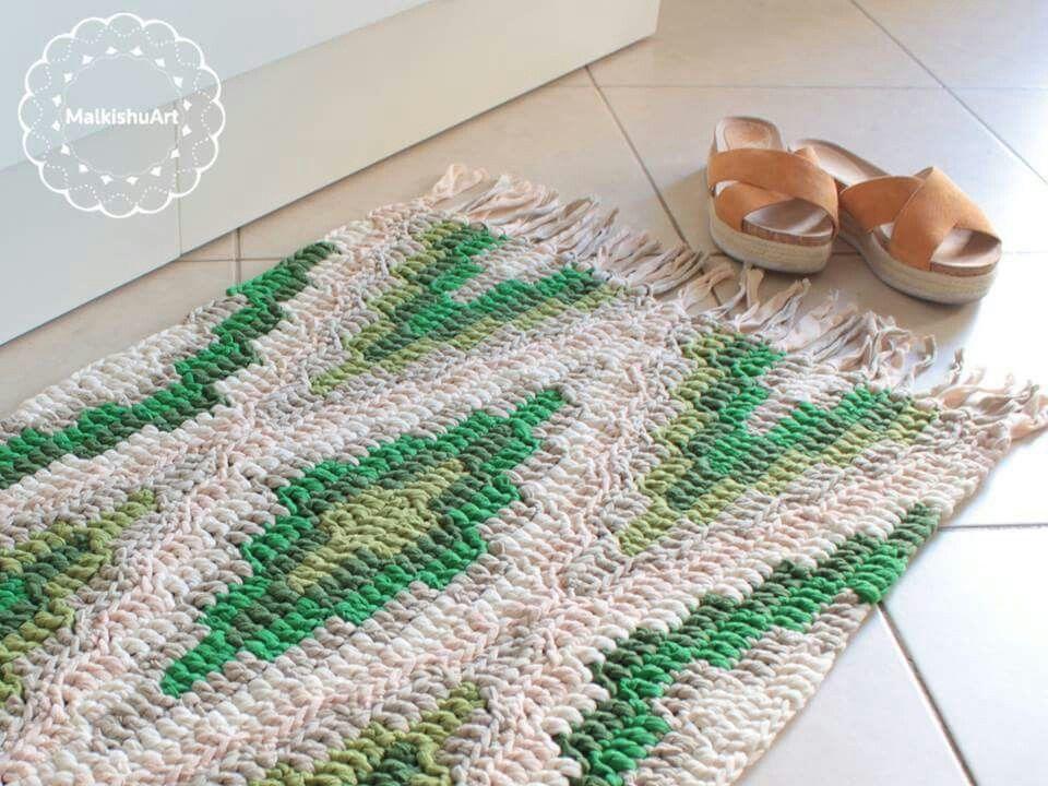 crochet rug, crochet carpet, geometric rug, Katia Big Ribbon yarn in ...