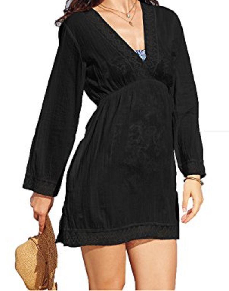 869b9555d1 Ralph Lauren Swim Cover Up Sz M Black Crochet Trim Cotton Tunic Beach  LR5F855 #RalphLauren #CoverUp