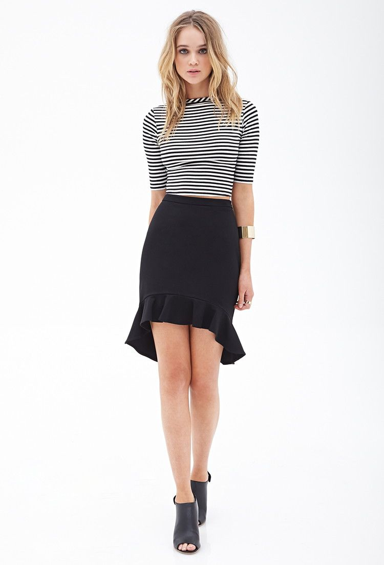Ruffled Crepe Woven Skirt