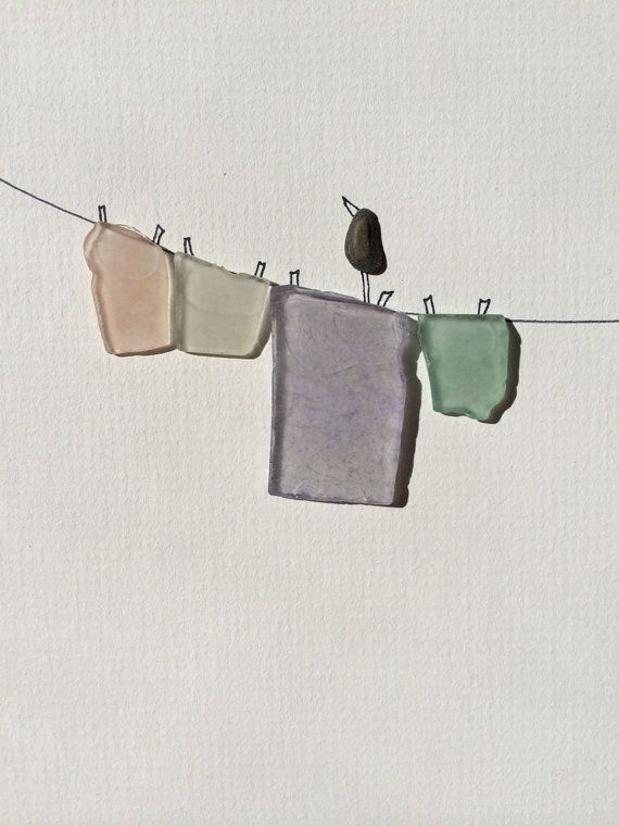 sea glass laundry line by sharon nowlan steinbilder steine und strandgut. Black Bedroom Furniture Sets. Home Design Ideas