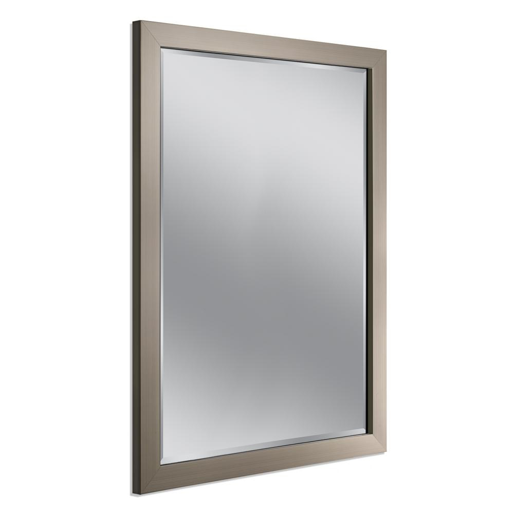 Deco Mirror 34 In W X 44 In H Framed Rectangular Beveled Edge Bathroom Vanity Mirror In Brush Nickel 6242 The Home Depot Mirror Wall Hanging Wall Mirror Rustic Wall Mirrors