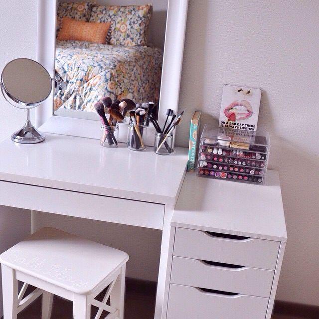 bcakeluvr makeup organization pinterest coiffeur chambres et rangements maquillage. Black Bedroom Furniture Sets. Home Design Ideas