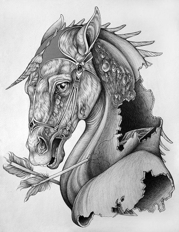 молодых эскизы картинки с лошадьми мощный