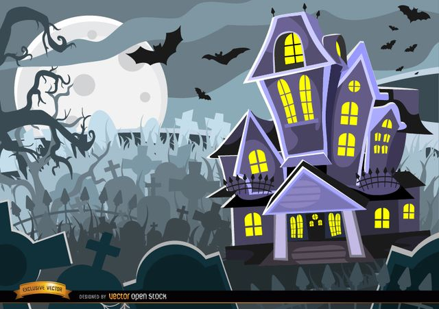 Halloween Haunted Mansion With Creepy Graveyard Under Full Moon It Can Be The House Of The Most Siniste Halloween Haunted Houses Haunted House Halloween Haunt