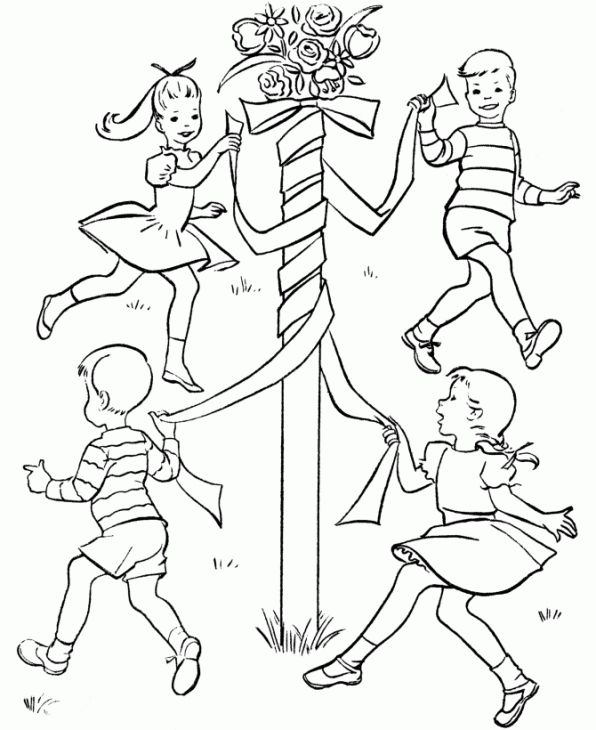 Kids spring maypole dance coloring page