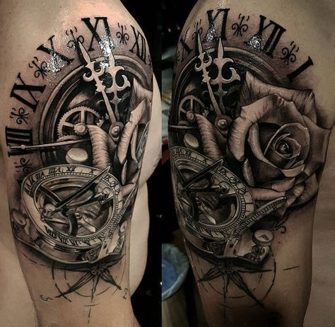 Sundial Compass Clock Rose Tatoo Pinterest Tatouage