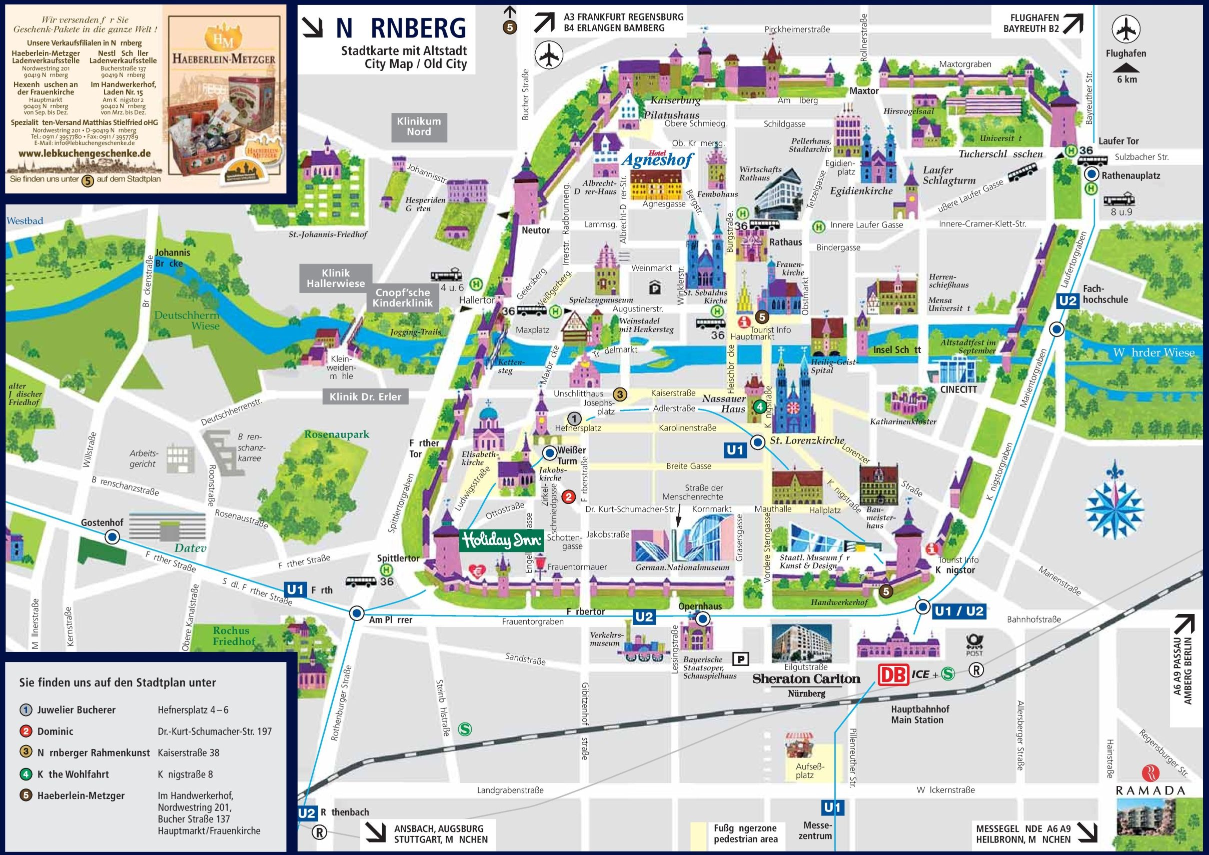 Tourist Map Of Germany.Nurnberg Sightseeing Map Wanderlust In 2019 Tourist Map Map