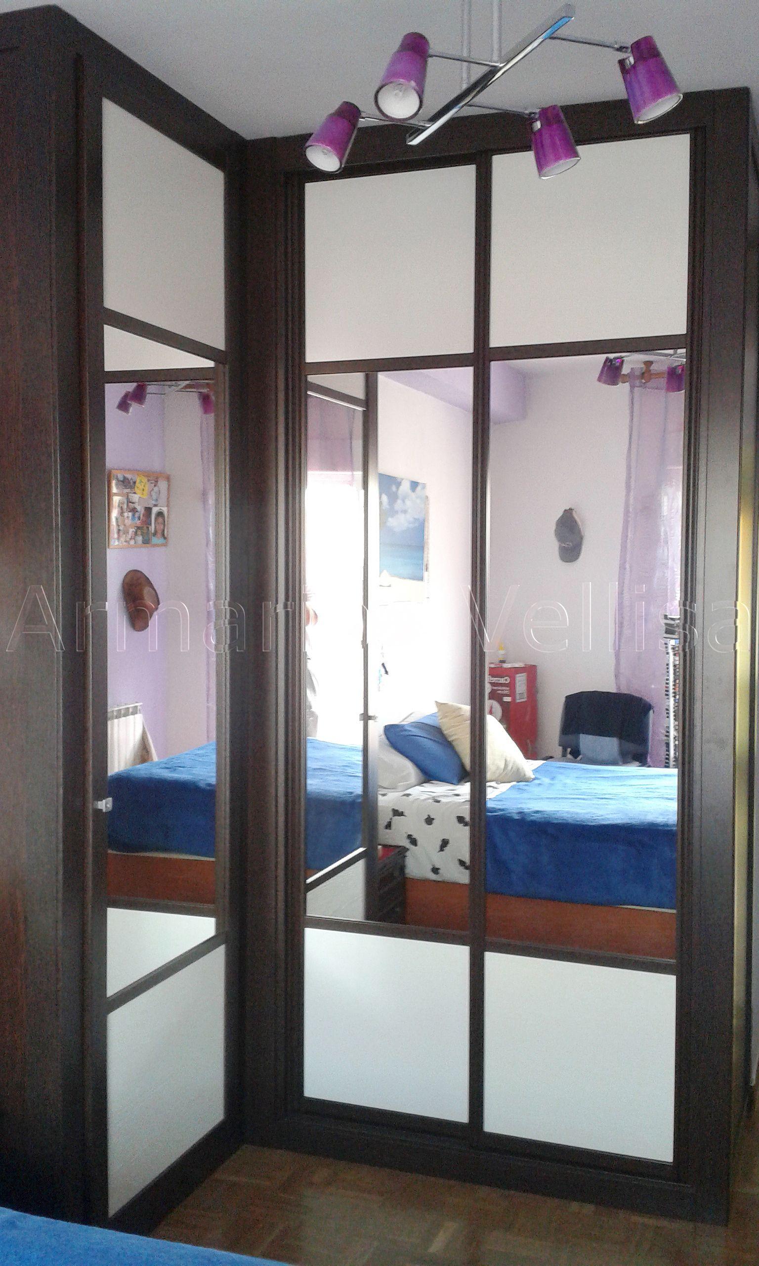 Armario empotrado en dormitorio principal formando angulo for Armario puerta espejo