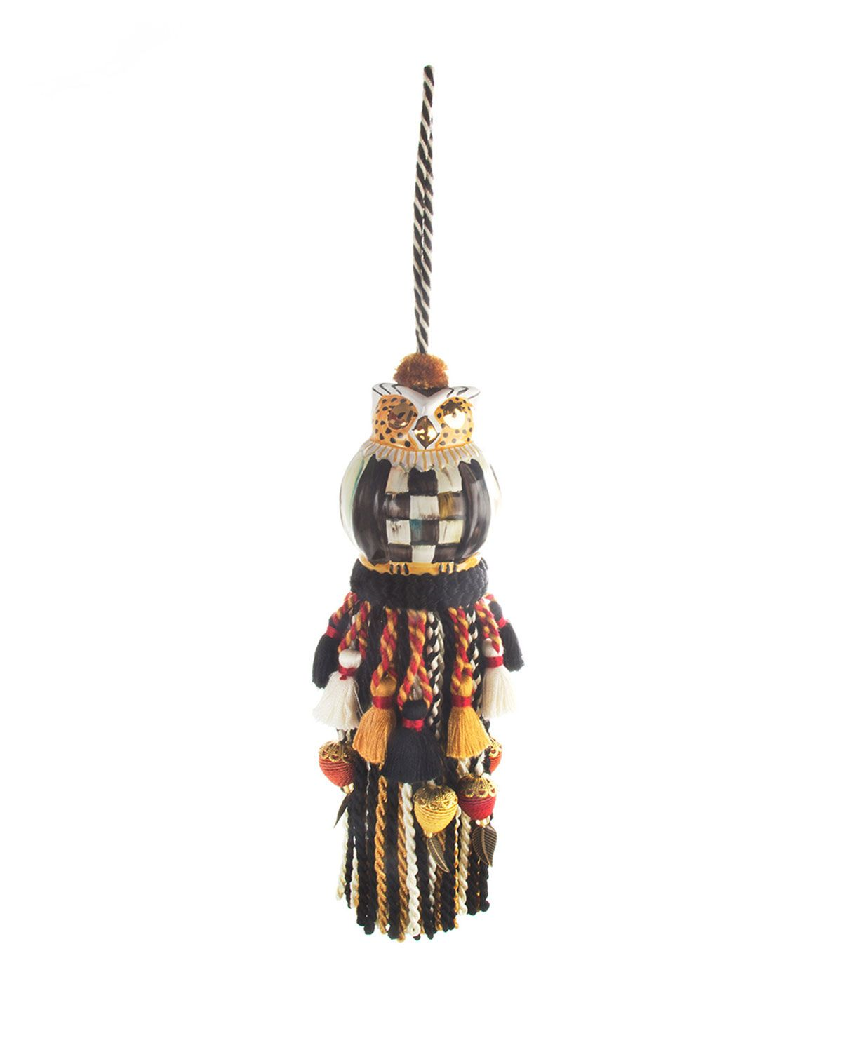 Courtly Check Owl Tassel, Multi Colors