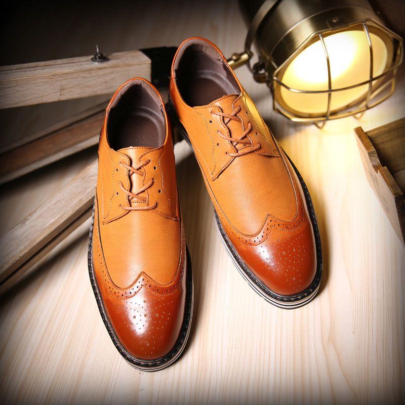 British Wingtip Shoes Men Casual Luxury Brand Flats Genuine