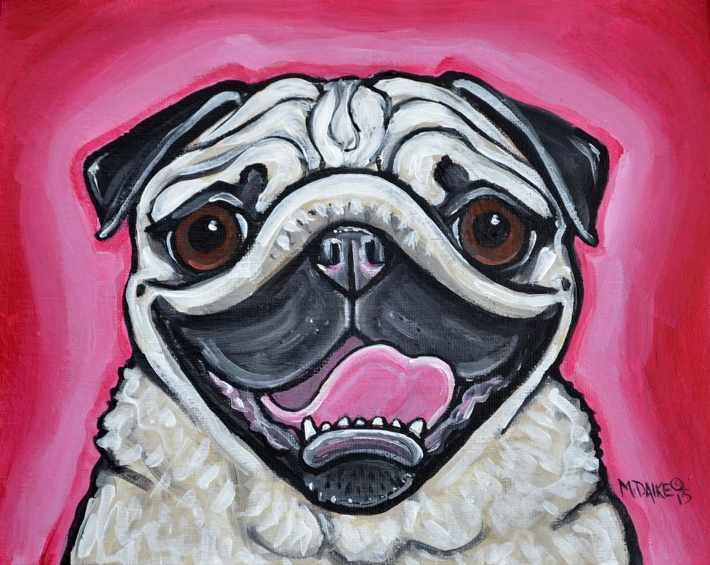 Colorful Pug Dog Pink Original Painting Toy Breed Pet Animal Art