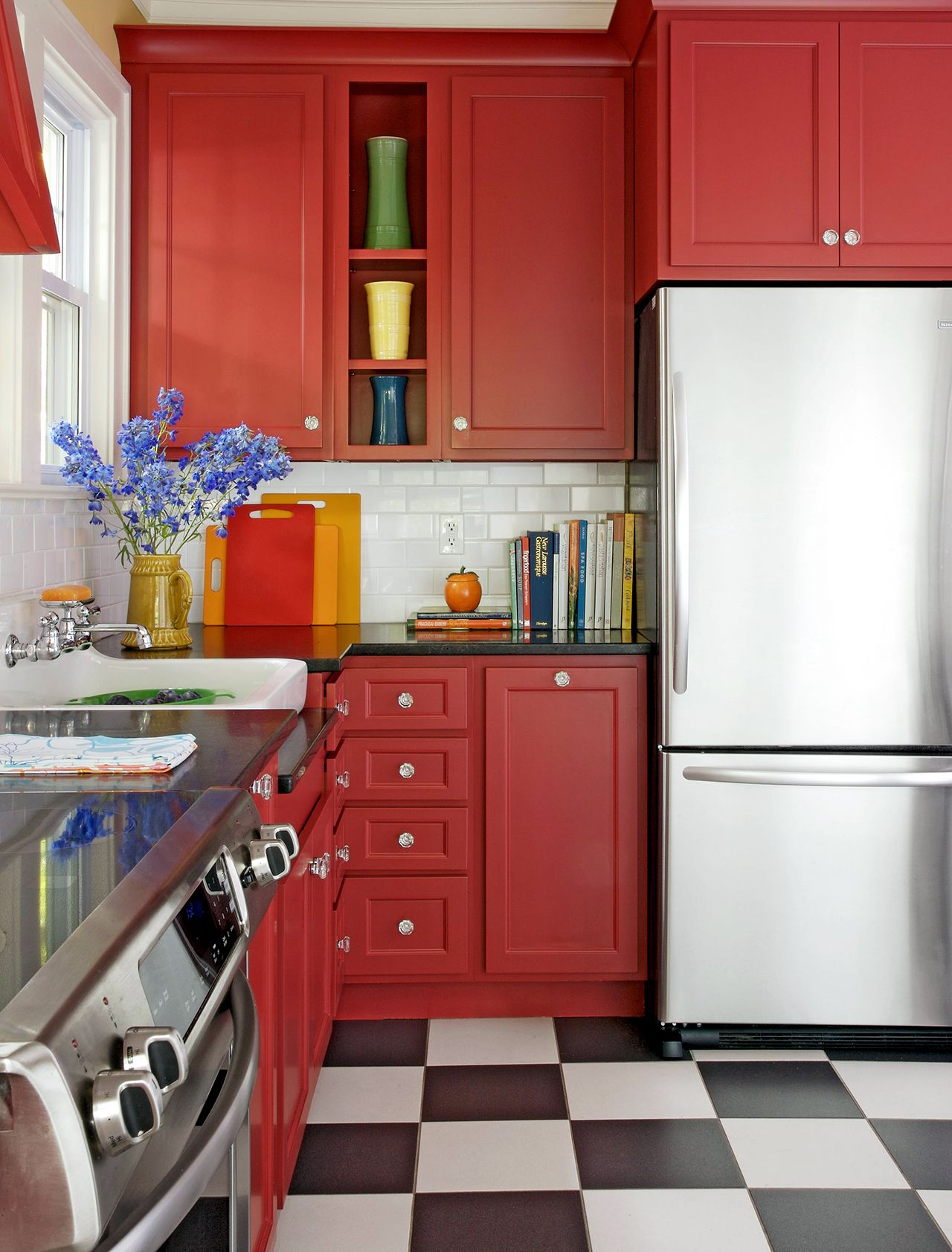What Colors Go With Red 20 Knockout Combinations To Consider In 2020 Beautiful Kitchen Cabinets Red Kitchen Cabinets Kitchen Cabinet Colors