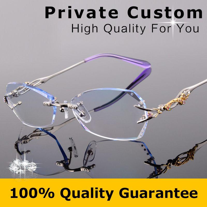Luxury Quality Titanium Eyeglasses Women Rimless Frame+1.61 Lenses Female Myopic Glasses/Presbyopic Glasses oculos de grau 618