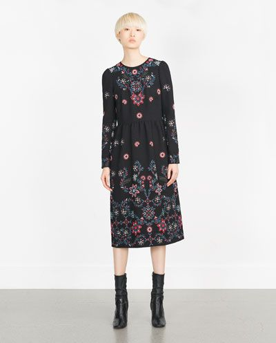 ed4943d894b2 Image 1 of LONG EMBROIDERED DRESS from Zara | zara | Fashion dresses ...