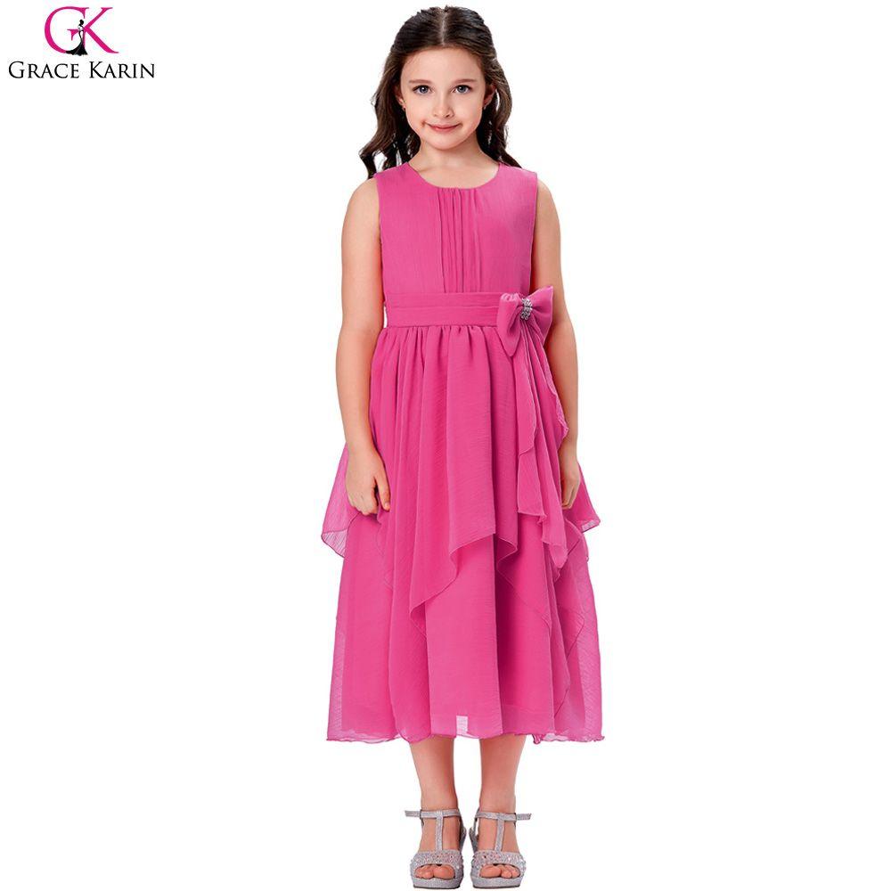 Click to buy ucuc asymmetric ruffled chiffon flower girl princess