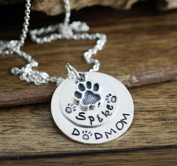 Hand Stamped Pet Necklace Lover Dog Mom Name