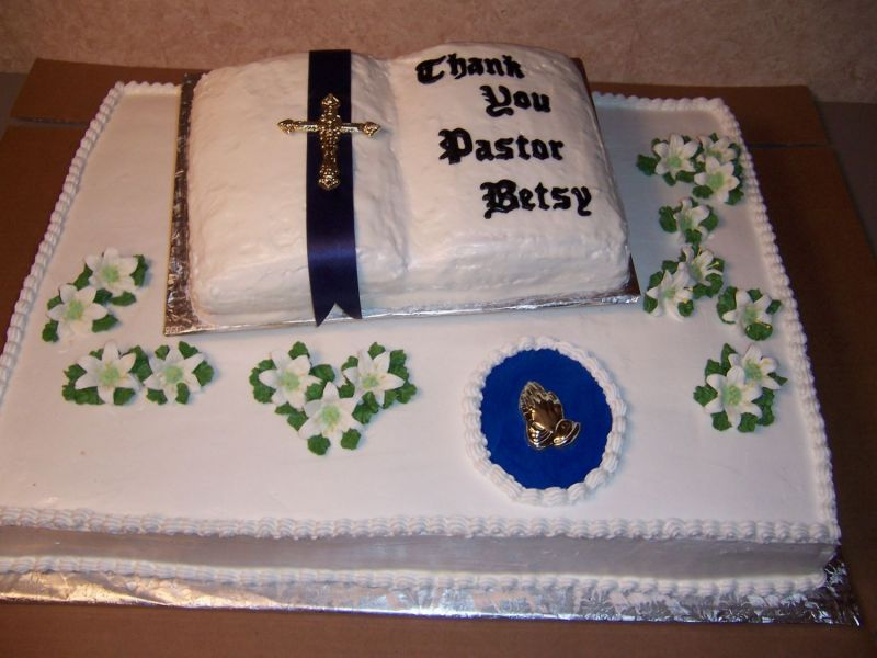 Sheet cake with Bible shaped cake on top Cakes, desserts ...