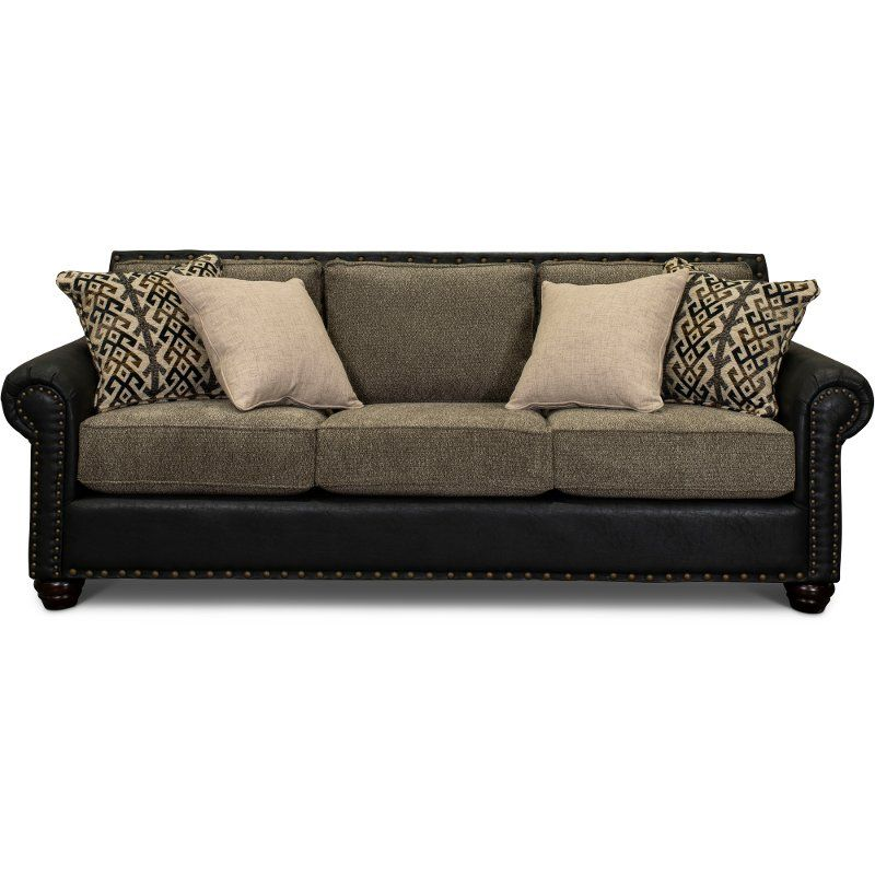 Rustic Traditional Black And Brown Sofa