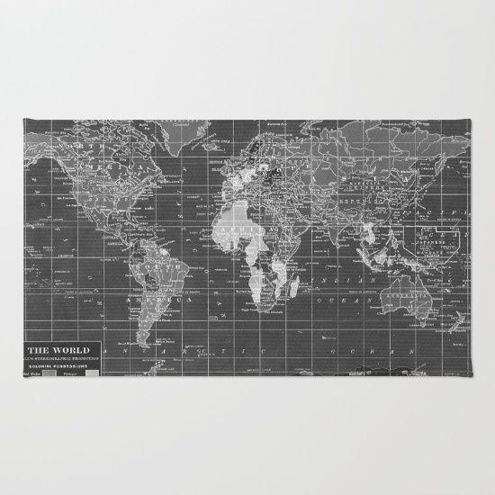 Black and White Vintage World Map Rug