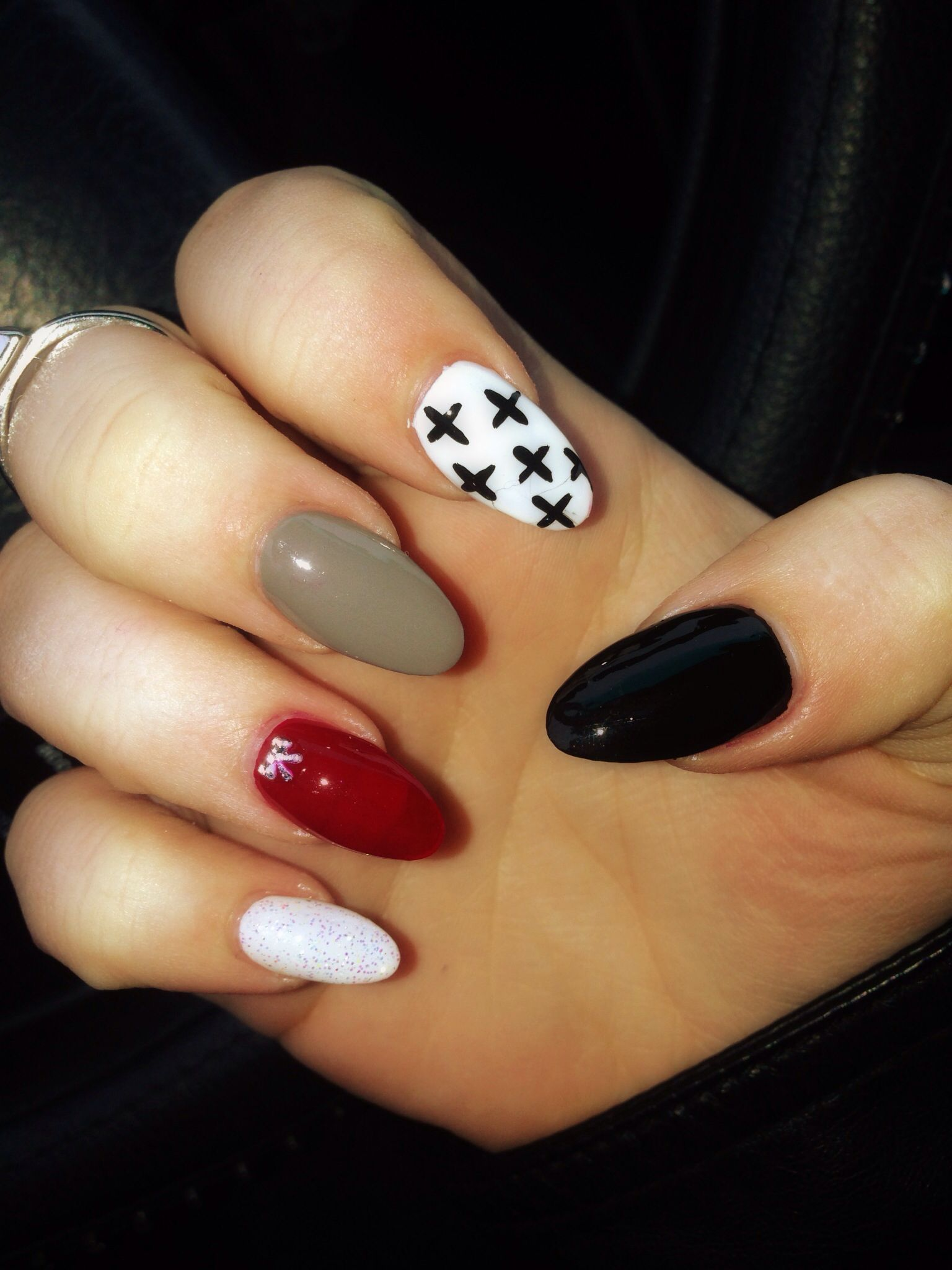 My Fall Nails Crosses With Bow Jewel On Ring Ringer Nails Cute