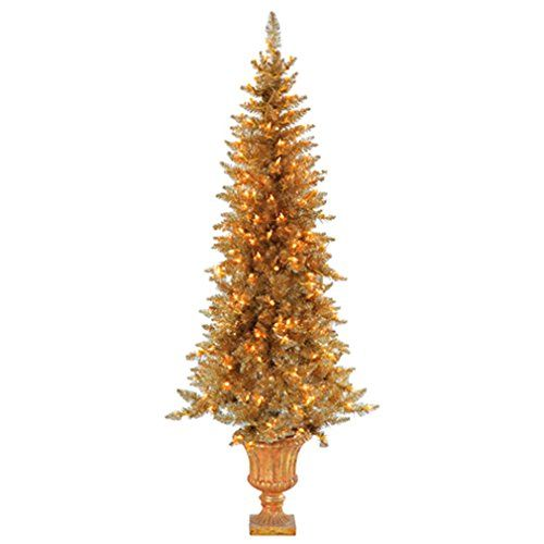 56Hx27W Tinsel Pine Lighted Artificial Christmas Tree wUrn Gold