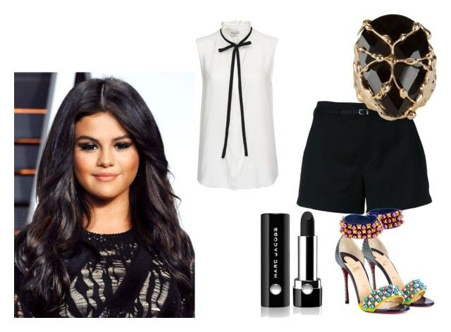 """""""Selena Gomez"""" by de-garbelini ❤ liked on Polyvore featuring Loveless, Frame Denim, Christian Louboutin, Rosantica and Marc Jacobs"""