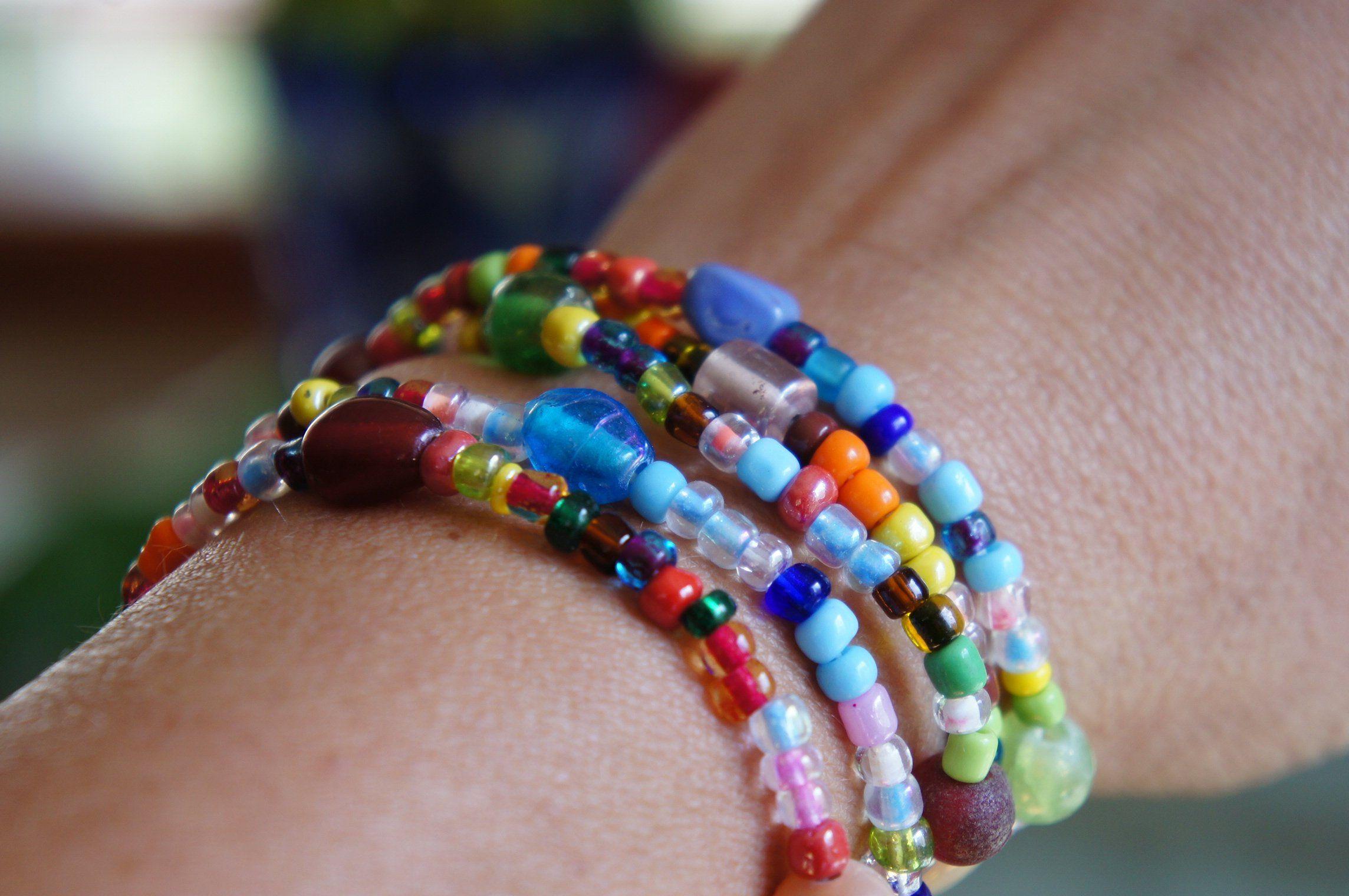 Beaded wrap bracelet seed bead bracelet bead stretch