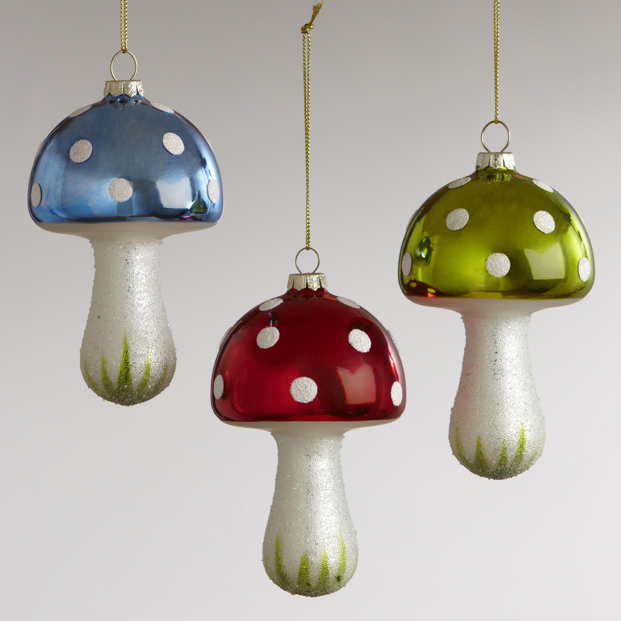 Glass Mushroom with Ice Ornaments Set of 3  World Market