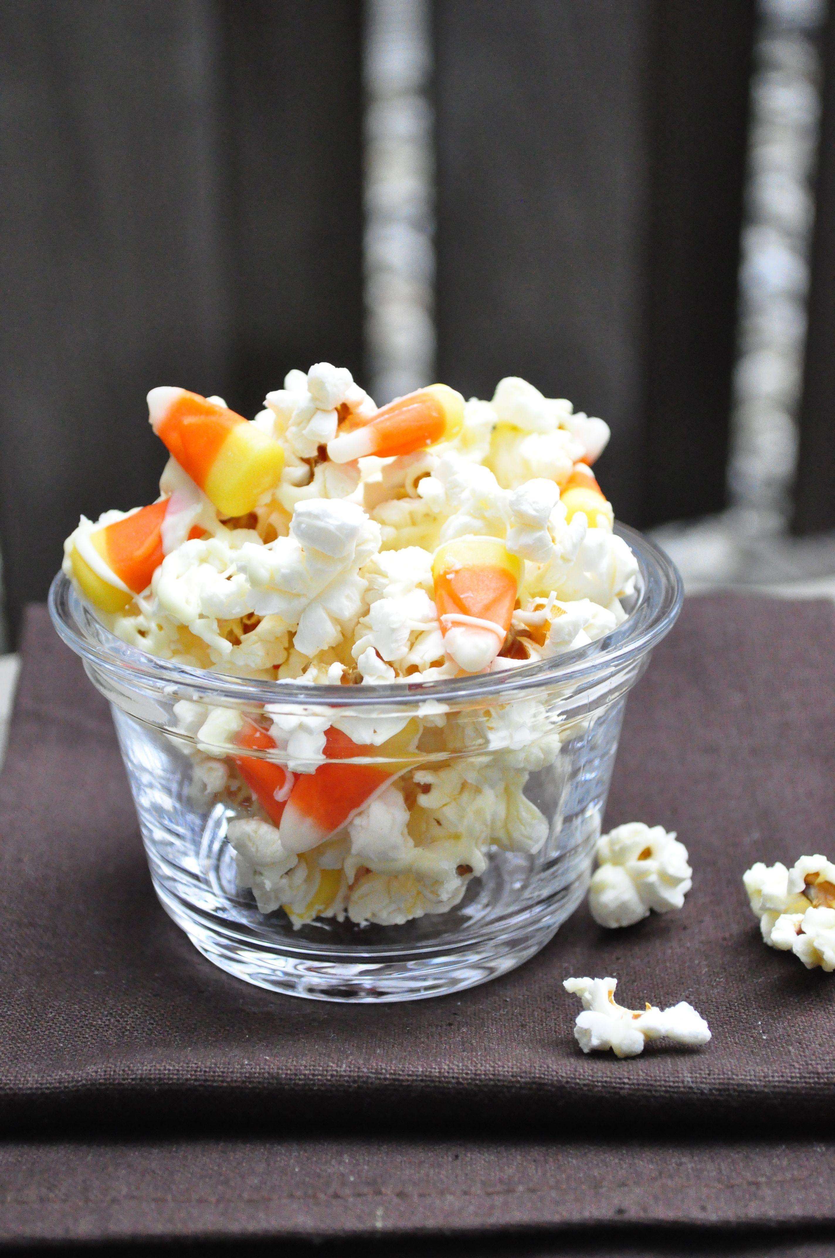 Salted White Chocolate Candy Corn Popcorn Halloween Recipes Snacks