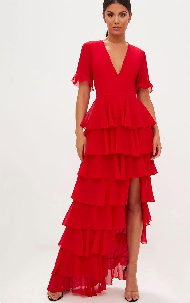 b50599662645 Red Chiffon Ruffle Layer Maxi Dress in 2019 | Dresses | Chiffon ...