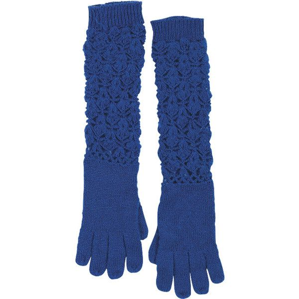 Angelina Crochet Glove ($5.99) ❤ liked on Polyvore featuring accessories, gloves, clearance, gloves & mittens, crochet gloves, long mittens, mitten gloves, crochet mittens and long gloves