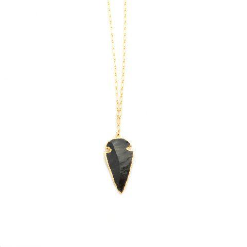 Black Obsidian Arrowhead, Bent by Courtney