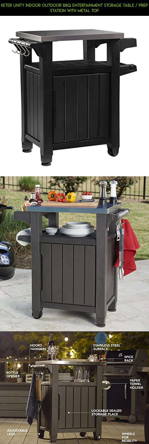 Keter Unity Indoor Outdoor BBQ Entertainment Storage Table / Prep Station  With Metal Top #camera