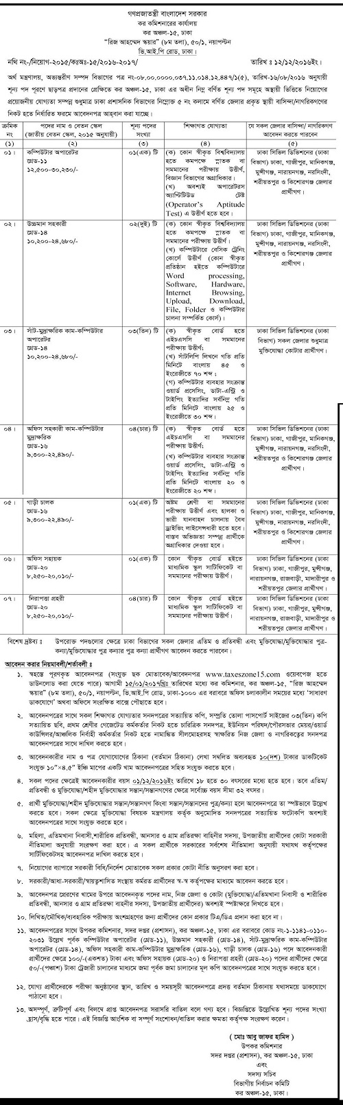 Customs Excise and VAT Commissionerate Job Circular, Customs Job ...
