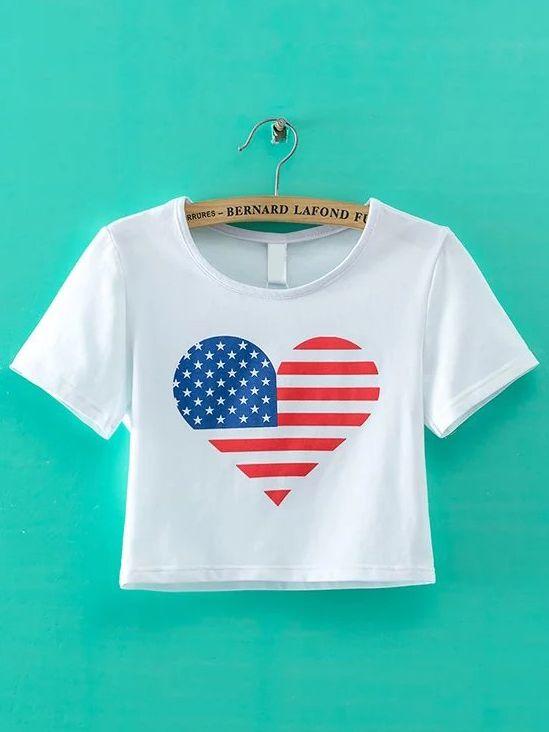 36df7ea7 Camiseta con estampado de bandera americana-(Sheinside) | Camisetas ...