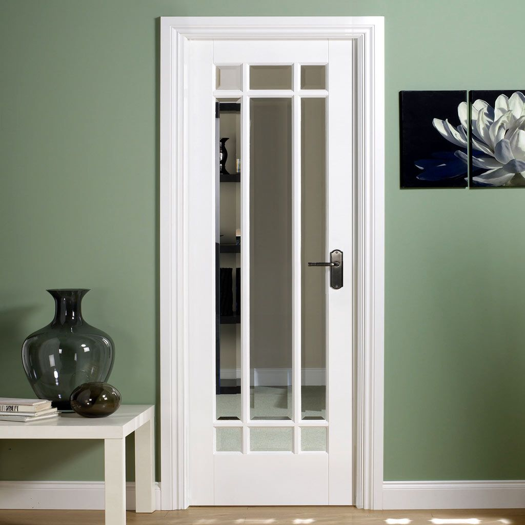 Manhattan Door Bevelled Clear Glass White Primed In