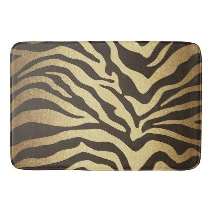 Zebra Print Animal Skins Skin Modern Glam Gold Bathroom Mat