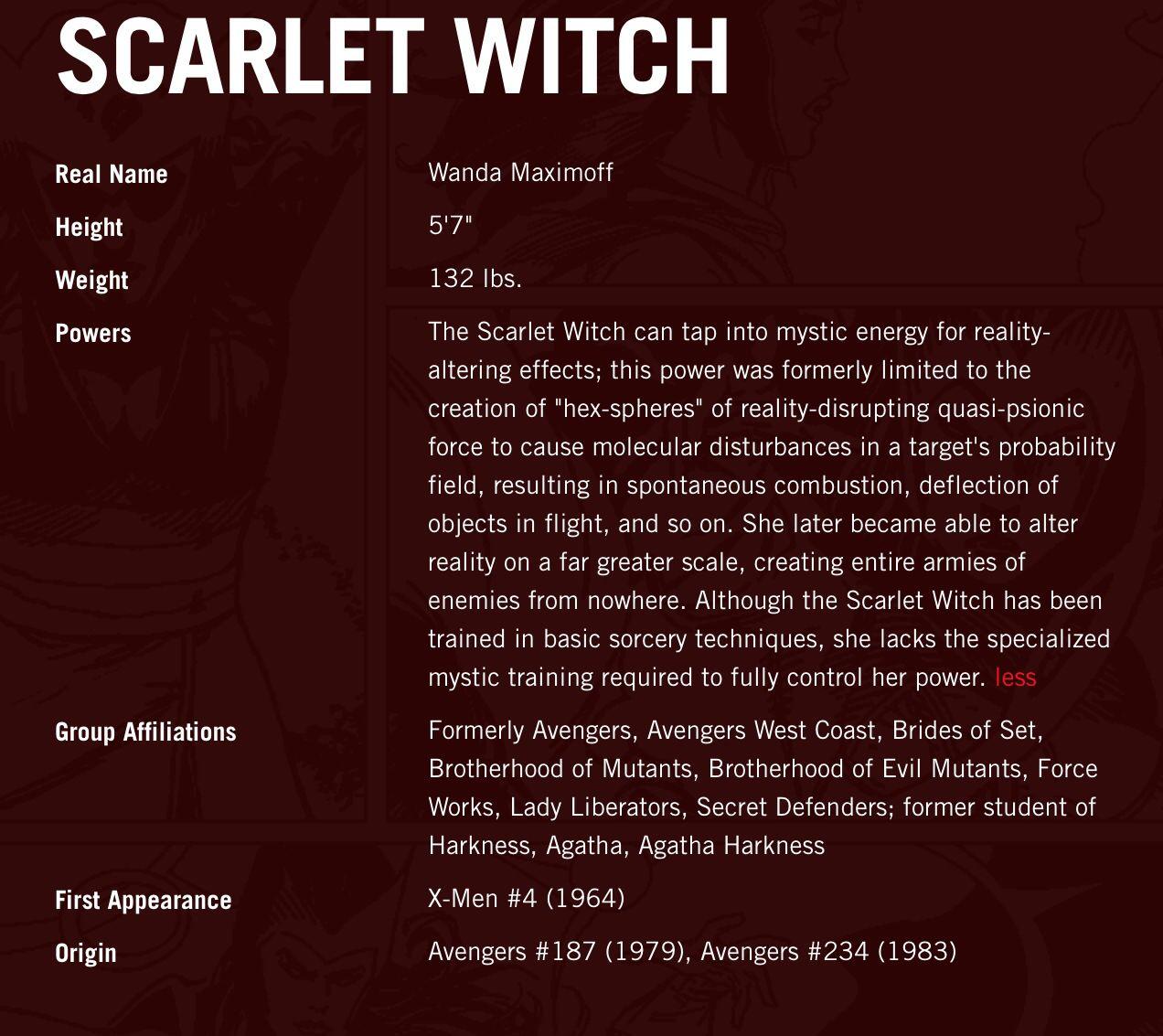 About Scarlet Witch Scarlet Witch Ms Marvel Captain Marvel Scarlet