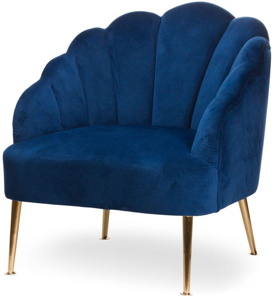 Hill Interiors Navy Velvet Teacup Chair Blue velvet