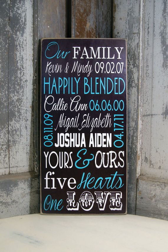 Blended Family Name Sign on Wood or Canvas, Happily ...