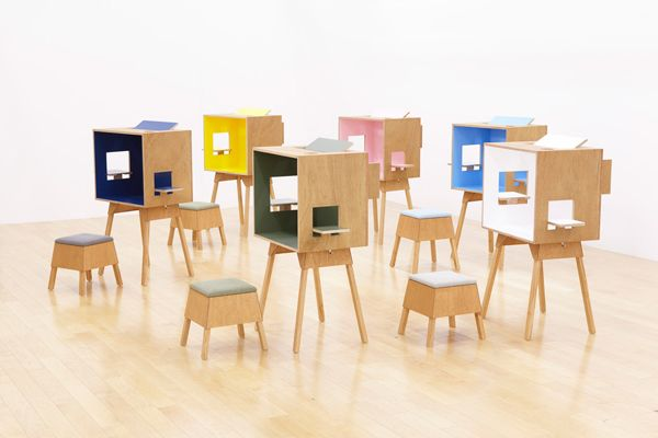 koloro-desk / koloro-stool in 6 colors by Torafu Architects